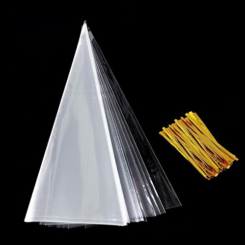 (Fyess 200PCS Cone Bag Clear Cello Bags Sweets Treat Bags With 800 Gold Twist Ties for Party and Festival Christmas Candy Popcorn Handmade Cookies Sweets, 14.6 by 7)