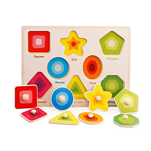 Baby Peg Puzzle Set Shape sorter Knob Wooden Puzzle Handles Toys Shapes sorter Shape Recognition Toy Puzzles Games Finger Toys Baby Animal Puzzle Animal Puzzles (Shapes Jumbo Knob Puzzle)
