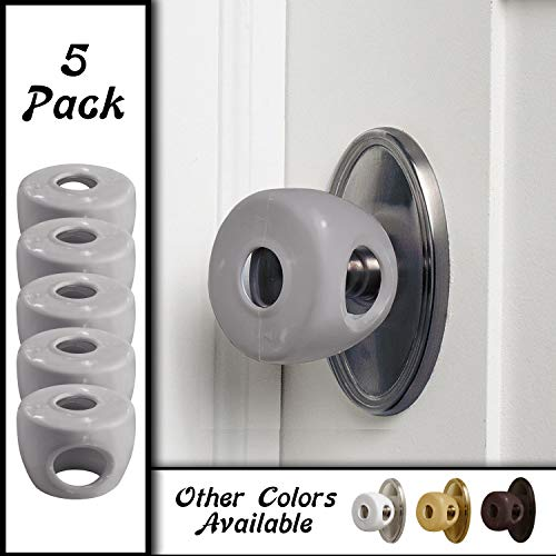 Grey – Door knob Baby Safety Cover – 5 Pack – 4 Colors Available – Deter Little Kids from Opening Doors with A Child Proof Door Handle Lock – Diddle