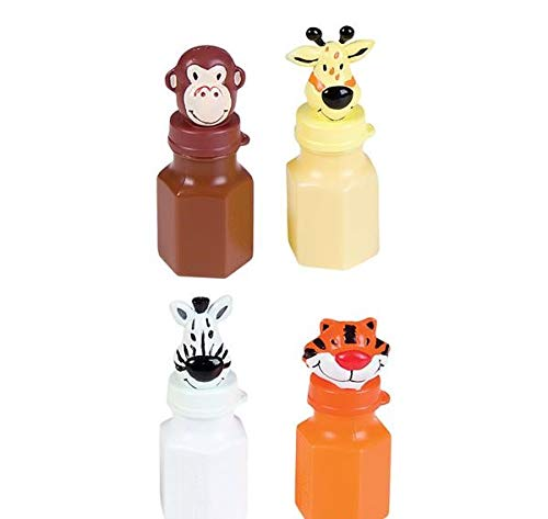 Rhode Island Novelty Zoo Animal Jungle Characters Bubble Bottles Lion Zebra Giraffe Monkey Tiger Elephant - 24 Bottles