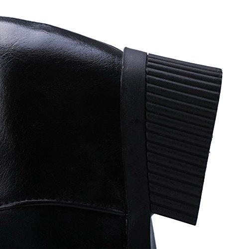 Allhqfashion Dames Pu Lage Top Stevige Rits Hoge Hakken Laarzen Zwart