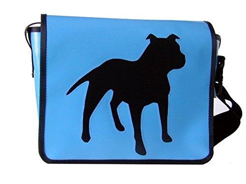 Umhängetasche Hunde-motiv Pit Bull Terrier Hellblau/Schwarz H 23, B 30, T 10