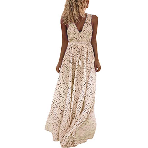LENXH Ladies Beach Skirt Sleeveless Dress V-Neck Long Skirt Polka Dot Print Dress Sling Dress Yellow (Bernat Sweet Stripes)