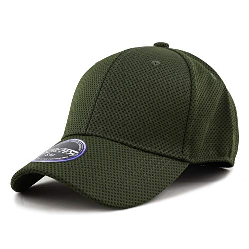 - Men's Curved Brim Stretch Fit Mesh 6 Panel Fitted Cap (S/M, Olive)