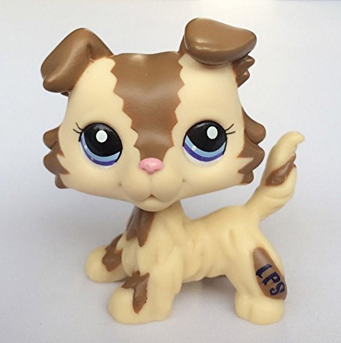 Littlest Pet Shop LPS Pet Collie Dog Child Girl Figure Toy Loose Cute lps #2210 Brown and Caramel Collie Dog