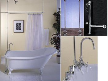 Tahoe Tub Package with Deck Mount Shower Surround/3-Ball Faucet/Gooseneck Spout - Chrome Legs and Fixtures