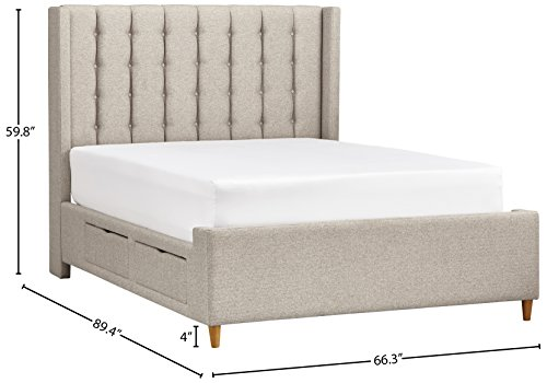 Rivet Payton Tufted Queen Bed With Storage, 89.4″ L, Natural