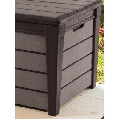 Easy-assembly and Lockable Deck Box with Unique Wood Look and Feel, 120 Gal.