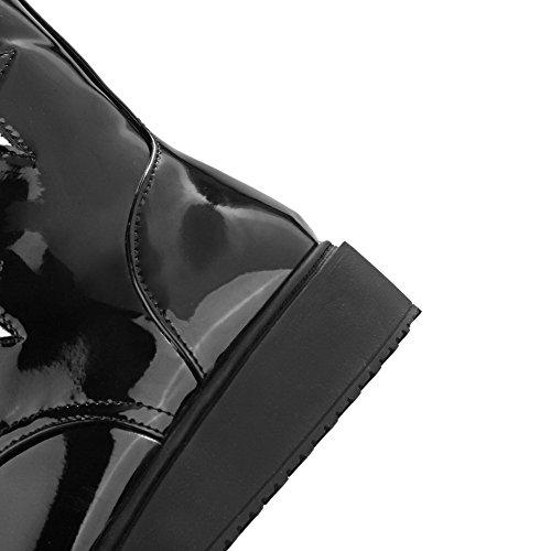 Allhqfashion Dames Lakleer Ronde Gesloten Neus Geassorteerde Kleur Lage Top Lage Hakken Laarzen Zwart
