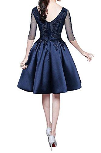 A Kurzes mia Neu Spitze Jugendweihkleider Navy Braut Linie Cocktailkleider Knielang La Blau Abendkleider Festlichkleider SBn6z6x