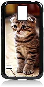 Sad Kitten Cat rubber DOUBLE LAYER PROTECTION black case - compatible with Samsung Galaxy S5 I9600
