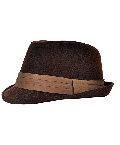 Wear Fedora Hat - Men's All Season Fashion Wear Fedora Hat (S/M, Brown)