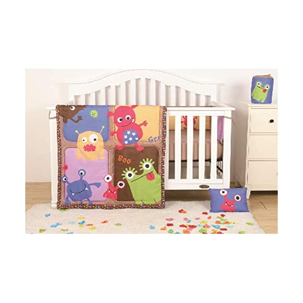 Sapphire Home 4 Piece Crib Bedding Set for Baby Boys/Girls, Crib Comforter/Bumper/Fitted Sheet/Pillow, Monster Creatures Design Multicolor Crib Bedding