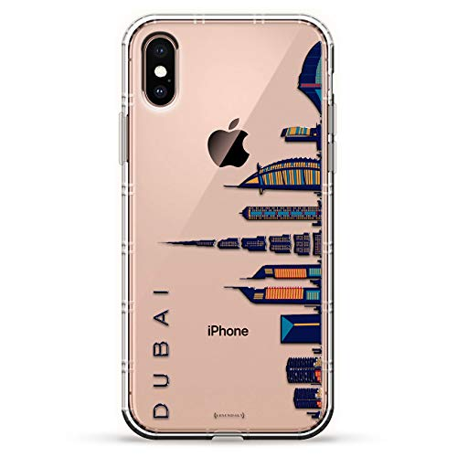 DUBAI SKYLINE | Luxendary Air Series Clear Silicone Case with 3D printed design and Air-Pocket Cushion Bumper for iPhone Xs Max (new 2018/2019 model with 6.5