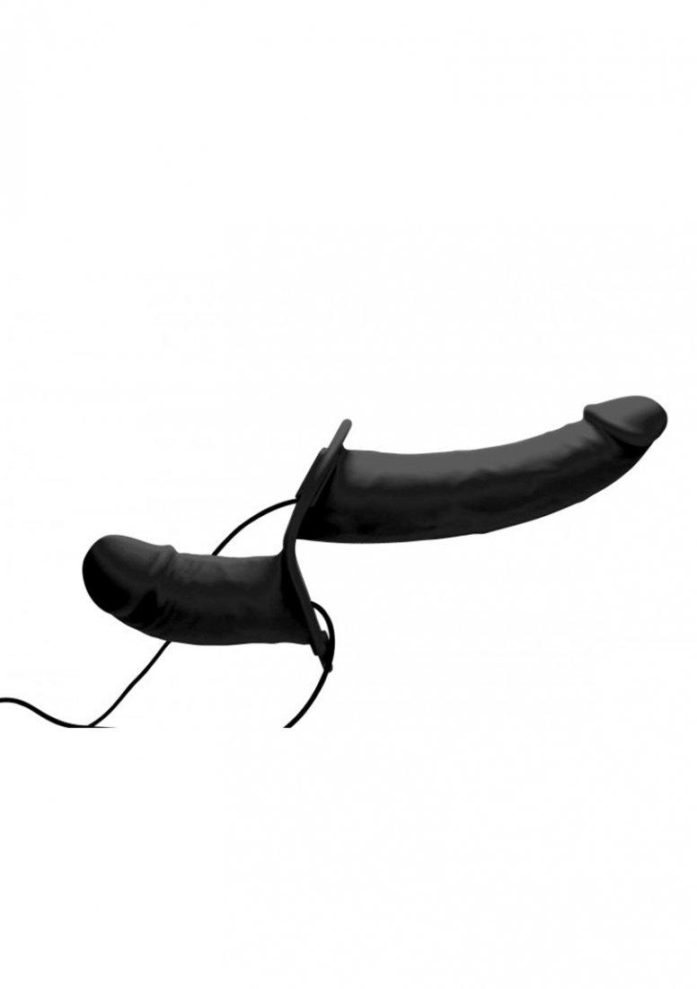 Strap U Power Pegger Black Silicone Vibrating Double Dildo with Harness
