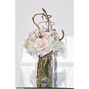 Vintage Roses, Hydrangea & Snowball Glass Jar Floral Arrangement 11