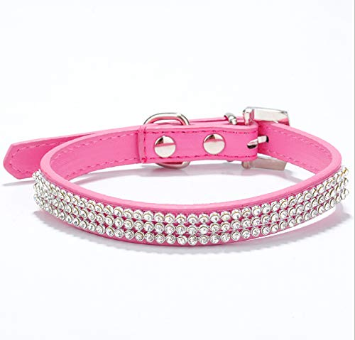 haoyueer Cute Dazzling Sparkling Elegant Fancy PU Leather Bling Rhinestone Crystal Jeweled Pet Cat Dog Puppy Collar(Hot Pink,S)