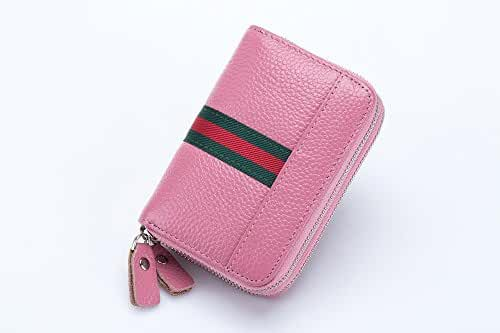 BaouBow Key Chain Wallet Six Key Case with Card Holder and Car Keychain Key Bag. (Card bag, Pink)
