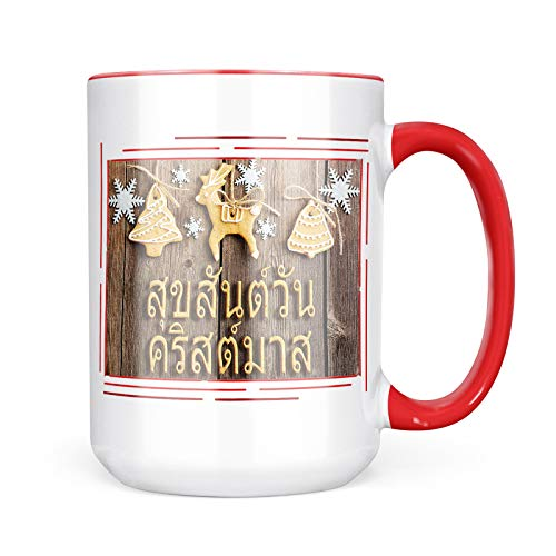 Neonblond Custom Coffee Mug Merry Christmas in Thai from Thailand 15oz Personalized Name