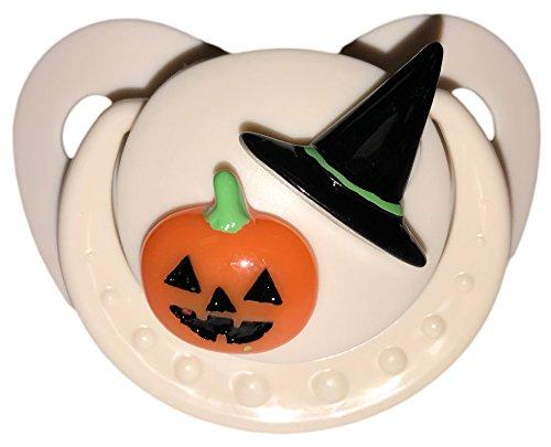 Pumpkin Pacifier - Envy Body Shop Adult Sized Cute Gem Halloween Pacifier Dummy for Adult Halloween Baby ABDL/DDLG/Little Space BigShield (Beige, Pumpkin with Hat)