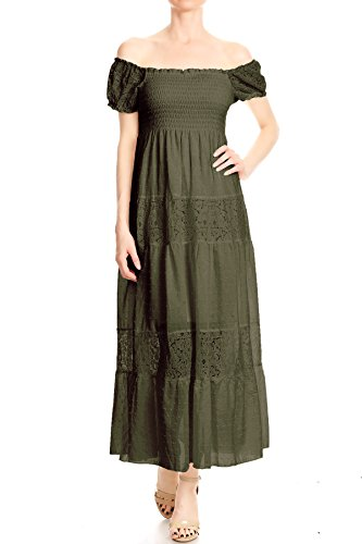 Anna-Kaci Womens Off Shoulder Boho Lace Semi Sheer Smocked Maxi Long Dress, Olive Green, XX-Large