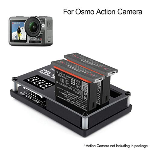 Osmo Action Battery Camera Charger 3 in 1 Multi Rapid Charger with Digital Screen Intelligent Parallel Charging Hub Flight Battery Manager Fast Charging for DJI Osmo Action Camera