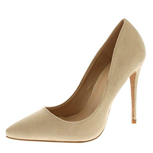 Damen Elegant Spitze Mode Stilett Schick Pumps Gericht Schuhe Fersen Nude