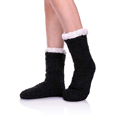 (YEBING Women Slipper Socks Soft and Warm Faux Shearling Lining and Non Skid Tread Sole Great Plush Slip On House Slippers (Black))