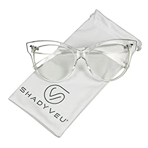ShadyVEU - Vintage Cat Eye Oversize Clear Lens Fashion MOD Sunglasses (Clear Frame, Clear)