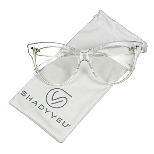 ShadyVEU - Vintage Cat Eye Oversize Clear Lens Fashion MOD Sunglasses (Clear Frame, - Company Eyewear Vintage