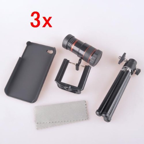 Neewer 8x Optical Zoom Telescope Lens +Tripod +Holder +Case for iPhone 4 4G *Qty:3*