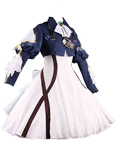 Ainiel Womens Costume Cosplay Anime Uniform Suit Dress Outfit Dark Blue White (L) -
