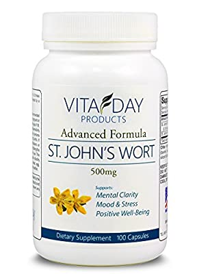 PREMIUM Pure St John's Wort 500mg Capsules - Helps Memory, Mood Stabilizer & Anti Anxiety - 100 Capsules of St John Wort Supplement - Made in the USA - FREE BONUS REPORT