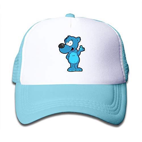 YGHATS Bear Cool Baseball Hats for Children Mesh Hair Durable Trucker Sun Cap Beach School Gift Sky Blue One Size -