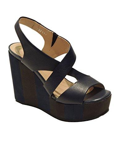 Bruno Premi sandale pour femme MADE IN ITALY à enfiler en cuir avec talons compensé F4709X