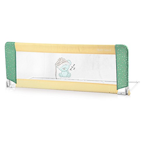 Bed Guard Folding Child Toddler Bed Rail Safety Protection Guard 2 Designs (Beige & Yellow Happy Family) Lorelli