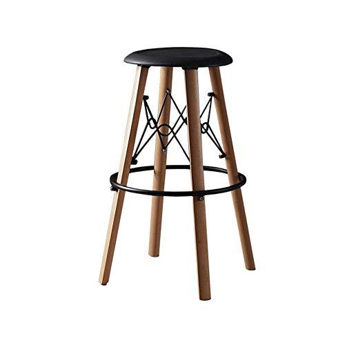 (ASDAD Barstools Solid Wood Bar Stools Tall Chairs Kitchen Pub Breakfast Stools Plastic Seat)