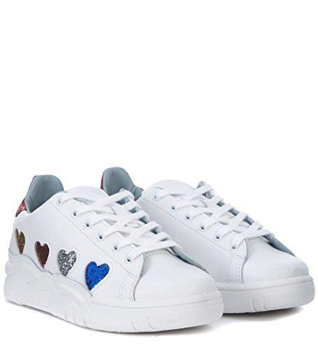 Chiara Ferragni Modello Di Sneaker Roger Di Pelle Bianca Con I Cuori In Bianco Scintillio