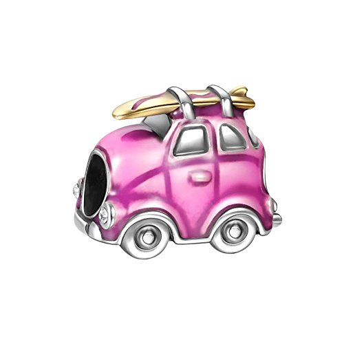 Soufeel Pink Travel Car Charm 925 Sterling Silver Fit European Charms (Sterling Silver Car Charm)