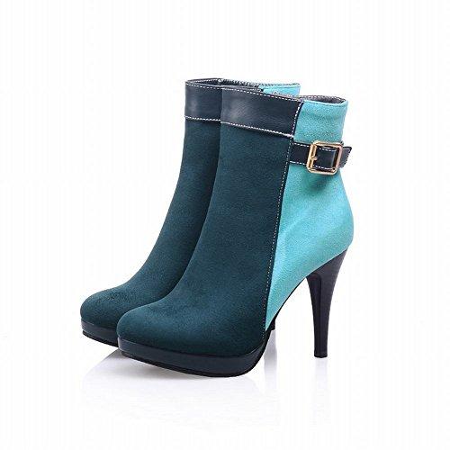 Donne Carolbar Fibbia Con Cuciture A Contrasto Colori Assortiti Stivali Eleganti Con Tacco A Spillo Cerniera Chic Verde