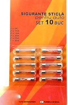 Set 10 Stück Pkw Auto Kfz Glas Sicherungen Stabsicherungen Feinsicherung 5 30a Auto