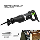 Reciprocating Saw, GALAX PRO 7.5 Amp Electric Saw with1-1/8'(28mm) Stroke Length,0-2500RPM Variable Speed and 6' Reciprocating Saw Blades for Wood and Metal Cutting