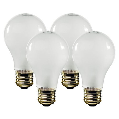 Incandescent Rough - 100 Watt - A19 - Rough Service - Frost - 10000 Life Hours - 1050 Lumens - 130 Volt - PLT 81553 - 4 Pack