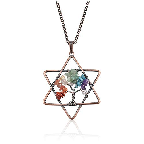 Jovivi Handmade Tree of Life Pendant 7 Chakra Healing Crystals Necklace Pentagram Gemstone Mother's Day - Pendant Handmade Crystal