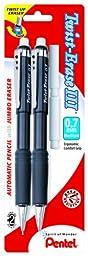 Pentel Twist-Erase III Automatic Pencil with 2 Eraser Refills, 0.7mm, Assorted Barrels, 2 Pack (QE517BP2-K6)