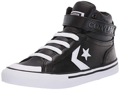 (Converse Boys Kids' Pro Blaze Strap Leather High Top Sneaker, Black White, 6 M US Big)