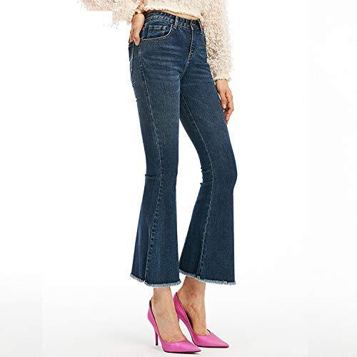 MVGUIHZPO Jeans Femme Neue Jeans mit hoher Taille, enge Jeans, elastische Taille, dnne Schlaghosen. XL