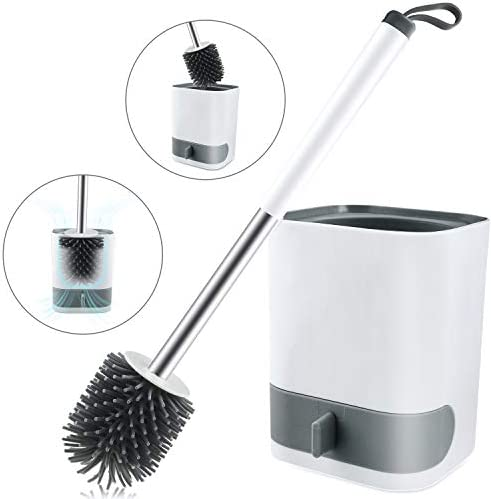 S SVUENCIO Toilet Brush and Holder Set Wall-Hung Toilet Bowl Brush and Holder Without PunchingToilet BrushSquare Base Holder and Drawer Type Water Receiving Tray