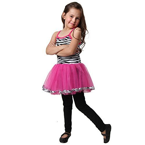 Zebra Costume Dance (Girls Hot Pink & Black Zebra Tutu Dress, Size 3/5)