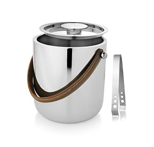 Flare Cooler Glass (Francois et Mimi 18/10 Stainless Steel Double Wall 3L Capacity Ice Bucket with Leather Handle, Lid and Stainless Steel Ice Tongs)